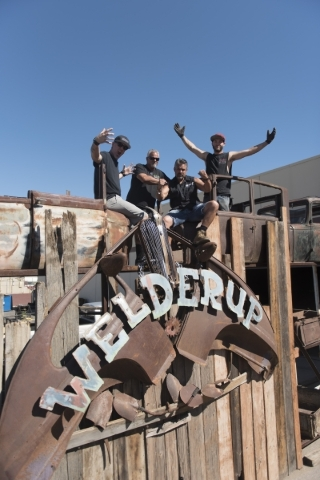 Star of the television show Vegas Rat Rods Steve Darnell, third from left, poses with his co-stars, from left, Travis Deeter, Dan Coggins and Justin Kramer at Welderup in Las Vegas Monday, Oct. 10 ...