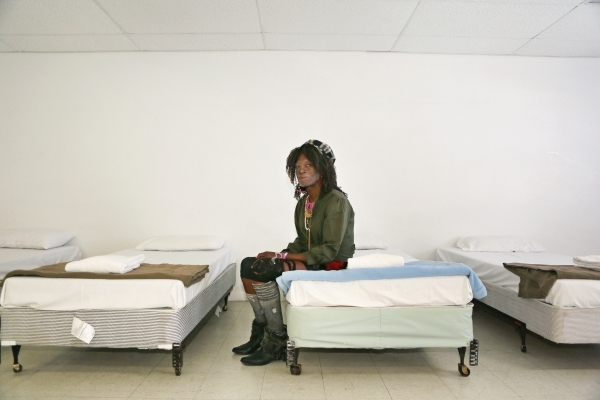 Michael Sumling poses in the Safety Dorm for transgender individuals at The Salvation Army Tuesday, Oct. 13, 2015, in Las Vegas. Sumling spent three months in the Safety Dorm prior to getting his  ...
