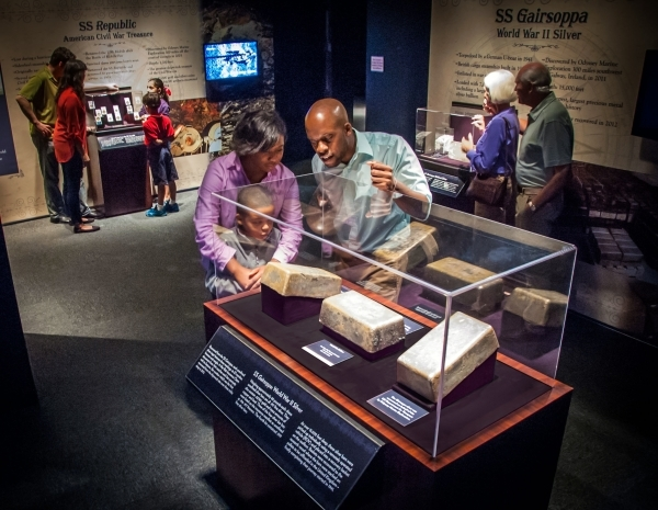 "Silver recovered from the World War II-era wreck SS Gairsoppa -- found three miles underwater -- gets a Treasure Room showcase in the ""Shipwreck! Pirates and Treasure"" exhibit opening Su ..."