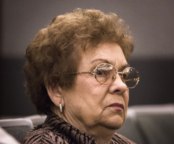 Mary Iorio, the widow of Maurice Iorio, who died from bladder cancer complications in November 2013, listens during the  Actos drug trial at Regional Justice Center on Monday, Oct. 12,2015. The ca ...