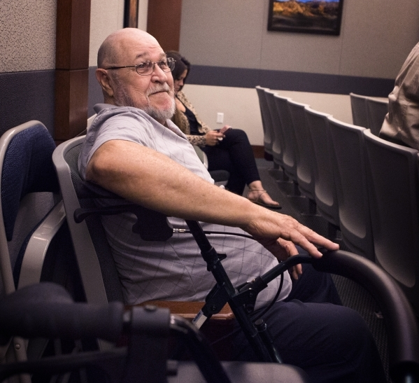 George Decou, who is suffering from bladder cancer, sits  during the Actos drug trial at Regional Justice Center on Monday, Oct. 12,2015. The case was resolved after the parties agreed on a settle ...
