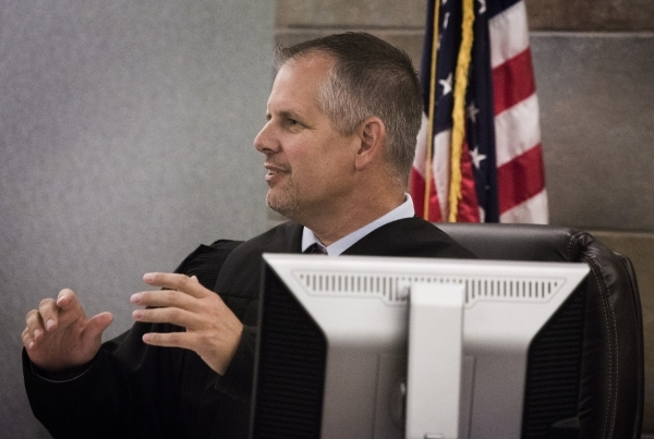 District Judge Jerry Wiese II dismisses the jury in the diabetes drug Actos trial at Regional Justice Center on Monday, Oct. 12,2015. The case was resolved after the parties agreed on a settlement ...