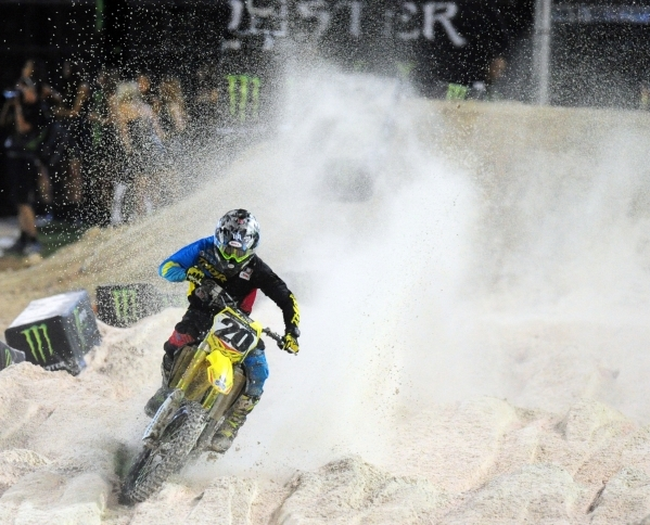 Monster Energy Cup AMA Supercross rider Jason Anderson of Edgewood, MN (21) is seen riding in the sand trap during the first heat race of the Monster Energy Cup at Sam Boyd Stadium in Henderson Sa ...