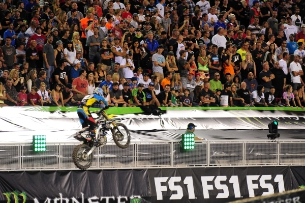 AMA Supercross rider Broc Tickle of Holy, MI (20) is seen in front of fans during the first heat race of the Monster Energy Cup at Sam Boyd Stadium in Henderson Sarturday, Oct. 17, 2015. Josh Holm ...