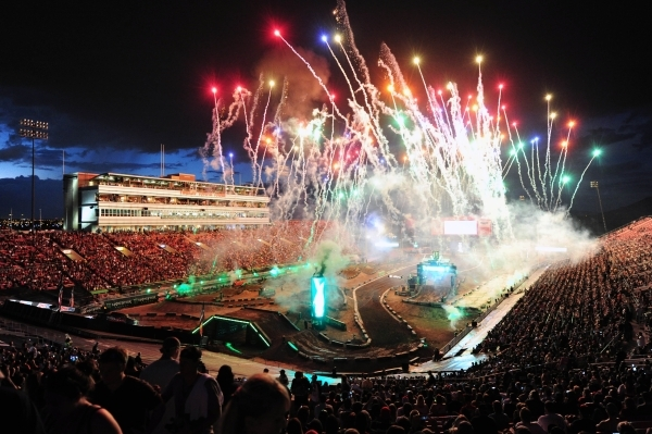 Amateur All-Stars AMA Supercross riders race over a jump during practice before the start of the Monster Energy Cup at Sam Boyd Stadium in Henderson Saturday, Oct. 17, 2015. Josh Holmberg/Las Vega ...