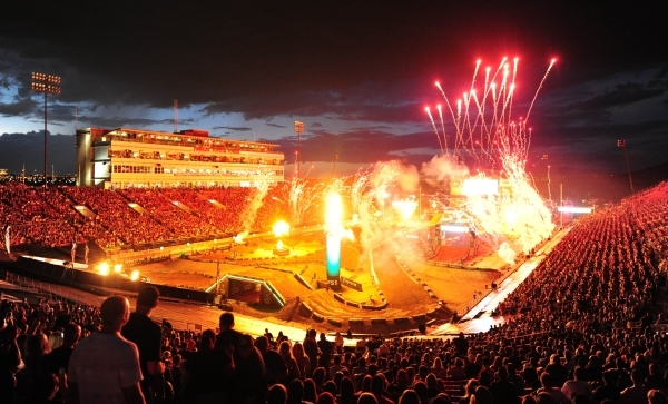 Sam Boyd Stadium is seen as pyrotechnics explode before the start of the main event of the Monster Energy Cup at Sam Boyd Stadium in Henderson Sarturday, Oct. 17, 2015. Josh Holmberg/Las Vegas New ...