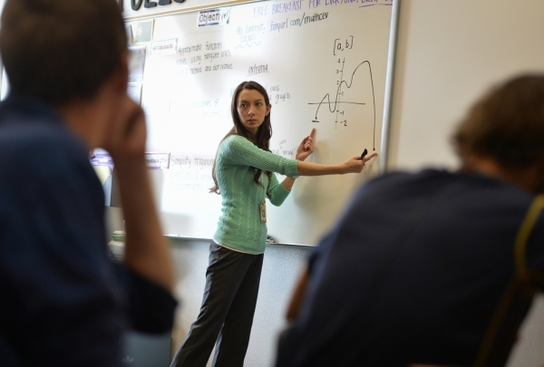 Christina Tulley teaches a math class at Del Sol High School in Las Vegas on Thursday, Oct. 15, 2015. Del Sol has seen a double-digit improvement in its graduation rate over the last two years. Br ...