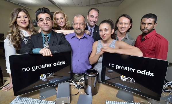 Cast and crew members from the documentary þÄúNo Greater OddsþÄù are shown at the CSN Cheyenne campus at 3200 Cheyenne Ave. in North Las Vegas on Wednesday, Oct. 14, 2015. Shown  ...