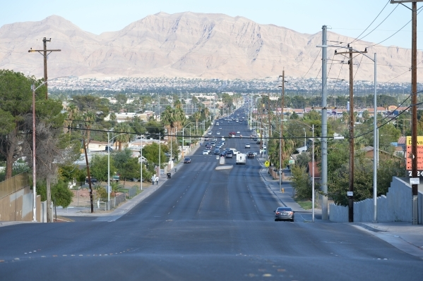 Frenchman Mountain juts from the Las Vegas basin looking east from atop the Cashman Field Fault scarp where it crosses Bonanza Road at Maryland Parkway on Wednesday, Oct. 14, 2015 in Las Vegas. Br ...