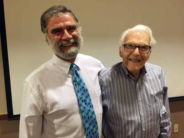 Craig dePolo, research geologist for the Nevada Bureau of Mines and Geology, left, poses with his mentor, retired University of Nevada, Reno Professor Emeritus D. Burt Slemmons, before they spoke  ...