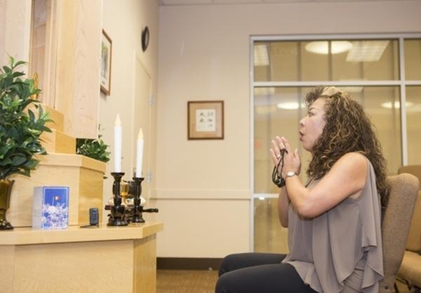 Sandra Dunn, a member of Soka Gakkai International, does a chanting meditation July 11 at the SGI-USA Buddhist Center, 2725 W. Charleston Blvd. (View file photo)