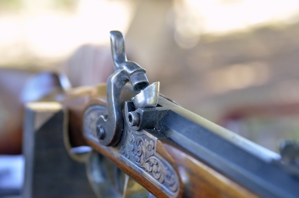 A reproduction of a Civil War-era rifle is shown at Spring Mountain Ranch State Park on Saturday, Oct. 24, 2015. (Bill Hughes/Las Vegas Review-Journal)