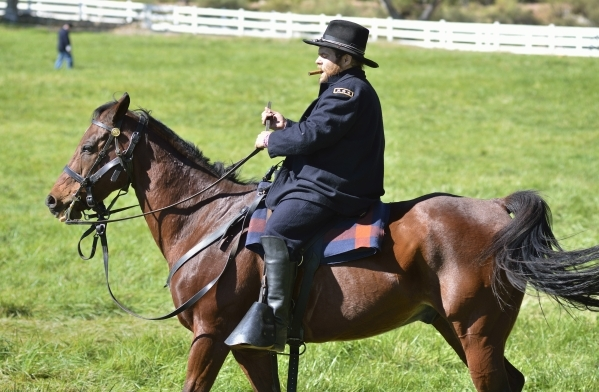 Edward Headington, as Ulysses S. Grant, is shown riding Cincinnati at Spring Mountain Ranch State Park on Saturday, Oct. 24, 2015. (Bill Hughes/Las Vegas Review-Journal)