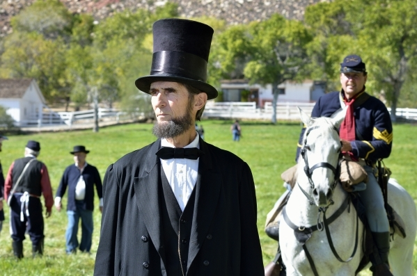 Robert Broski, as Abraham Lincoln, is shown at Spring Mountain Ranch State Park on Saturday, Oct. 24, 2015. (Bill Hughes/Las Vegas Review-Journal)