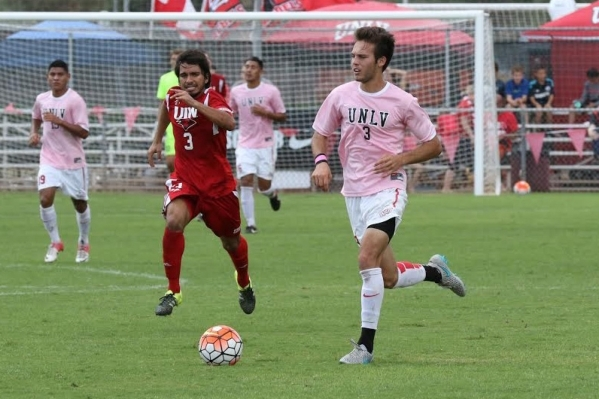 UNLV sophomore forward Danny Musovski, who starred at Liberty High School, looks for an opening during the Rebels' 5-1 victory over Incarnate Word on Sunday at Peter Johann Memorial Field. M ...