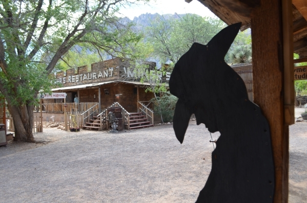 A cowboy silhouette stands on a walkway at Bonnie Springs Ranch. (Ginger Meurer/Special to View)
