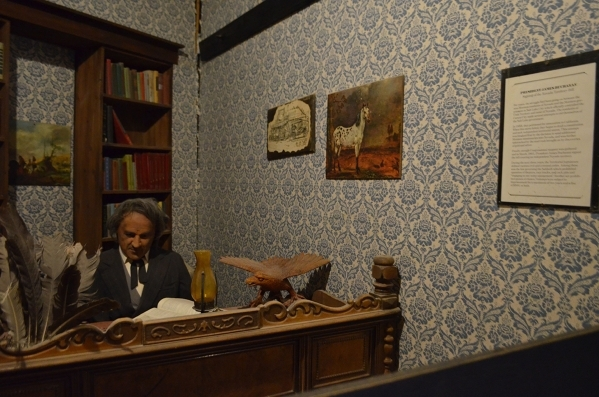 President James Buchanan signs documents in the wax museum at Bonnie Springs Ranch. (Ginger Meurer/Special to View)