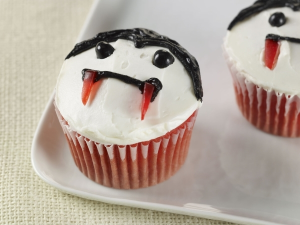 Halloween treats do not have to be elaborate as these Red Velvet Vampire Cupcakes demonstrate. (courtesy McCormick & Co.)