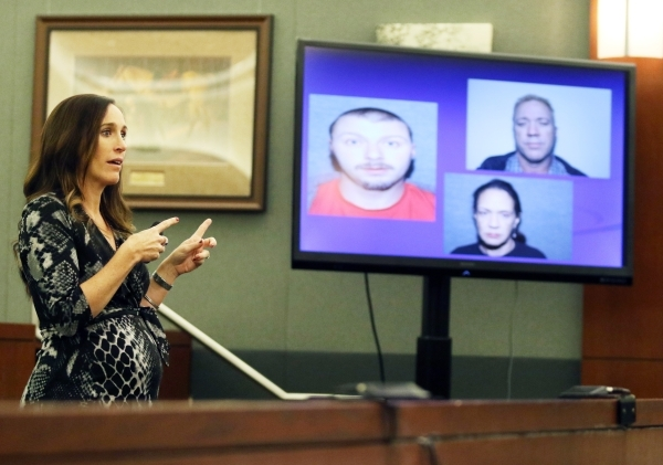 District Attorney Jacqueline Bluth speaks to the jury during closing arguments for the Will Sitton trial Friday, Oct. 23, 2015, in Las Vegas. Photos of Robert Sitton, clockwise from left, Will Sit ...