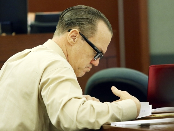 Will Sitton appears before Judge Doug Smith for closing arguments Friday, Oct. 23, 2015, in Las Vegas. Sitton and Jacquie Schafer are both charged with multiple felonies including first-degree mur ...