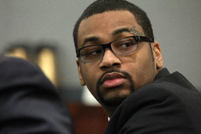 Ammar Harris, who is accused of killing three people on the Strip, sits in court for closing statements in his trial at the Regional Justice Center in Las Vegas Monday, Oct. 26, 2015. Erik Verduzc ...