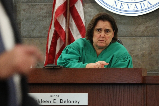 District judge Kathleen Delaney speaks during closing statements in the trial hearing for Ammar Harris, who is accused of killing three people on the Strip, at the Regional Justice Center in Las V ...