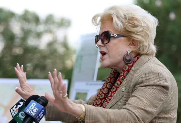 Mayor Carolyn Goodman speaks during a nuclear waste transportation summit news conference at Molasky Building Tuesday, Oct. 27, 2015, in Las Vegas. Las Vegas was one of 70 cities nationwide to rel ...