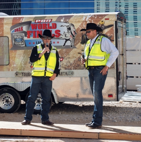 Reese Cates, a professional bull rider, left, discusses the upcoming Professional Bull Riders move to the new MGM Resorts arena from the Thomas & Mack Center next year as Sean Gleason, CEO of  ...