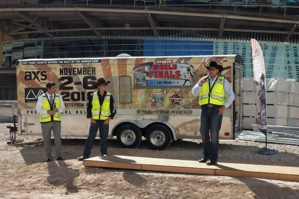 Sean Gleason, Professional Bull Riders CEO, discusses the upcoming PBR move to the new MGM Resorts arena from the Thomas & Mack Center next year at a news conference at the new arena Monday, O ...