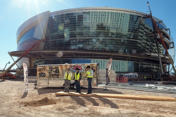 Rick Arpin, Senior Vice President of Entertainment and Development for MGM Resorts, left, discusses the upcoming Professional Bull Riders move to the new MGM Resorts arena from the Thomas & Ma ...