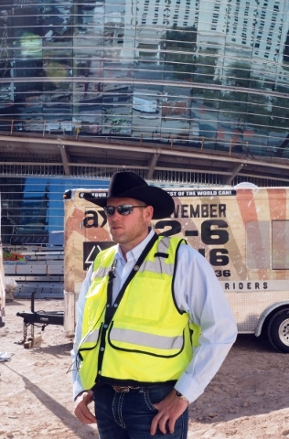 Sean Gleason, CEO of Professional Bull Riders, discusses the upcoming PBR move to the new MGM Resorts arena from the Thomas & Mack Center next year at a news conference at the new arena in Las ...