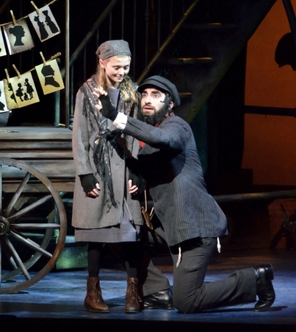 Cara Myers, as the little girl, left, and Matthew Curiano, as Tateh, perform in ìRagtimeî in Reynolds Hall at the Smith Center for the Performing Arts at 361 Symphony Park Ave. in Las Vegas  ...