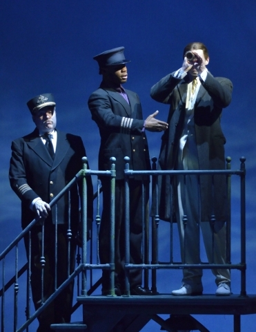 Todd Berkich, as Admiral Peary, left, JoNathan (cq) Michael, as Matthew Henson, center, and Troy Bruchwalski, as father, perform in ìRagtimeî in Reynolds Hall at the Smith Center for the Per ...