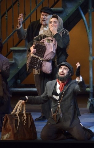 Matthew Curiano, as Tateh, foreground, performs with other cast members in ìRagtimeî in Reynolds Hall at the Smith Center for the Performing Arts at 361 Symphony Park Ave. in Las Vegas on Tu ...