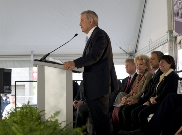 Nevada Supreme Court Chief Justice James Hardesty speaks during the groundbreaking ceremony for the new Supreme and appellate courts of Nevada in downtown Las Vegas on Tuesday, Oct. 27, 2015. Dani ...
