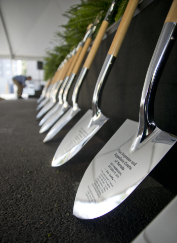 Shovels are seen during the groundbreaking ceremony for the new Supreme and appellate courts of Nevada in downtown Las Vegas on Tuesday, Oct. 27, 2015. Daniel Clark/Las Vegas Review-Journal