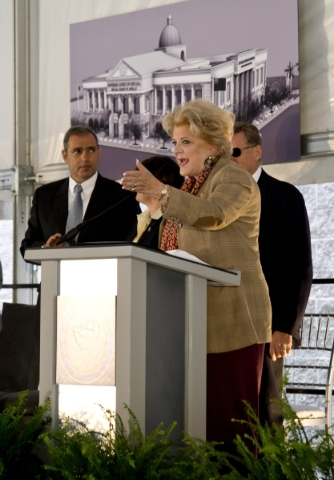 Las Vegas Mayor Carolyn Goodman speaks during the groundbreaking ceremony for the new Supreme and appellate courts of Nevada in downtown Las Vegas on Tuesday, Oct. 27, 2015. Daniel Clark/Las Vegas ...