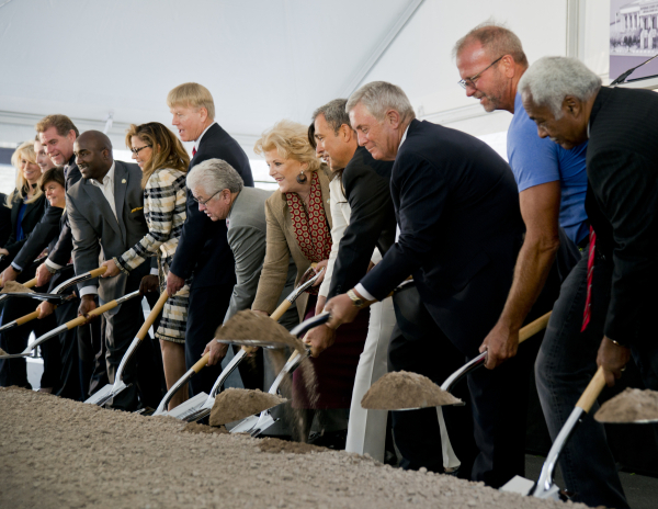 Politicians and others involved in the project shovel dirt during the groundbreaking ceremony for the new Supreme and appellate courts of Nevada in downtown Las Vegas on Tuesday, Oct. 27, 2015. Da ...