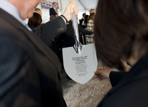 A specially made shovel is seen during the groundbreaking ceremony for the new Supreme and appellate courts of Nevada in downtown Las Vegas on Tuesday, Oct. 27, 2015. Daniel Clark/Las Vegas Review ...