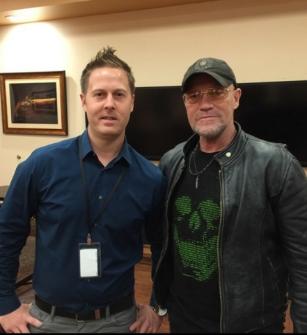 Brian Doleshal of The Range 702 with actor Michael Rooker at the Las Vegas gun range. (Courtesy)