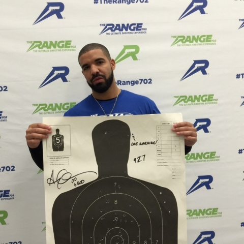 Drake displays the results of his shooting talent Sunday at The Range 702. (Courtesy)