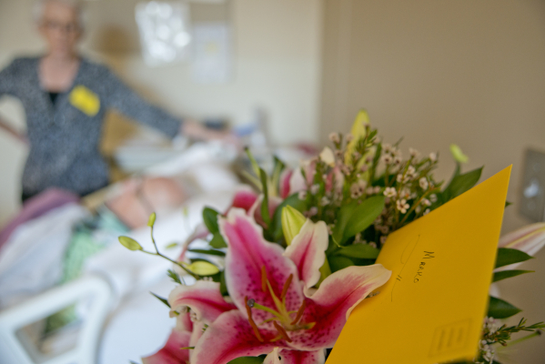 Flowers for Marko Kustudia are seen in his hospital room at HealthSouth Rehabilitation Hospital of Henderson after a full day of physical therapy on Tuesday, Oct. 27, 2015. The driver accused of h ...