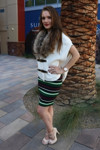 Katielle Nietzke wearing Michael Kors dress and vest provided by Dillard's at Downtown Summerlin. Photo Credit Keith Davis.