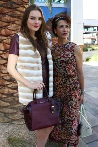 Katielle Nietzke wearing Vince Camuto leather dress, Calvin Klein faux fur vest and Michael Kors handbag, provided by Dillard's and make-up artist Suzanna Corral DeKeyser at Downtown Summerl ...