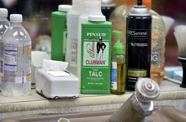 Hair care supplies are seen on at the West Hill Barber Shop on Tuesday, Oct. 27, 2015, in Las Vegas. Barber Jerry Stump, a Las Vegas resident since 1942, has been cutting hair at the West Charlest ...