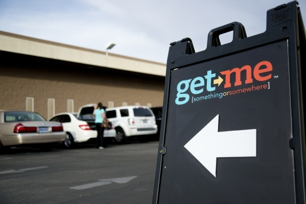 A sandwich board advertises an employee intake event for Get Me, a new ridehail company, near Sandhill Road and Patrick Lane in Las Vegas on Tuesday, Oct. 27, 2015. Daniel Clark/Las Vegas Review-J ...