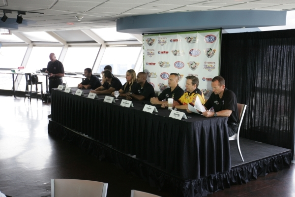 NHRA drivers and riders speak with the media during a press conference for the NHRA Toyota Nationals held at the Stratosphere on Thursday, Oct. 29, 2015 in Las Vegas. The race will take place from ...