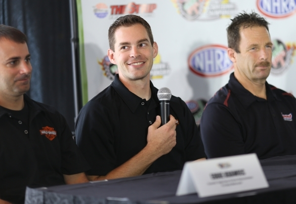 Pro Stock rider Andrew Hines, center, answers questions during a press conference for the NHRA Toyota Nationals held at the Stratosphere on Thursday, Oct. 29, 2015 in Las Vegas. The race will take ...