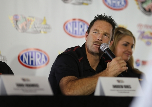 Pro Stock driver Greg Anderson answers questions during a press conference for the NHRA Toyota Nationals held at the Stratosphere on Thursday, Oct. 29, 2015 in Las Vegas. The race will take place  ...