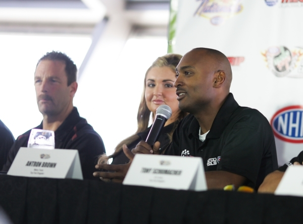 Top Fuel driver Antron Brown answers questions during a press conference for the NHRA Toyota Nationals held at the Stratosphere on Thursday, Oct. 29, 2015 in Las Vegas. The race will take place fr ...